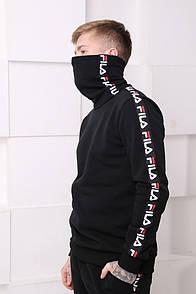 Мужской спортивный костюм Fila черный c полосками Отличного качества Реплика