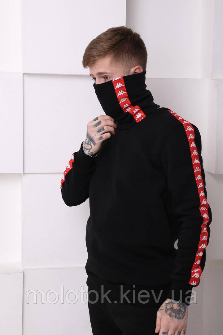 Мужской спортивный костюм Kappa черный c красными полосками Отличного качества Реплика