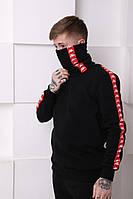 Мужской спортивный костюм Kappa черный c красными полосками Отличного качества Реплика, фото 1