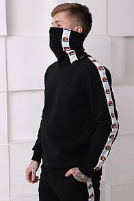 Мужской спортивный костюм черный c белыми полосками Отличного качества Реплика