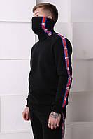 Мужской спортивный костюм черный c красно-синими полосками Отличного качества Реплика, фото 1