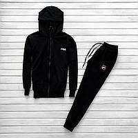 Мужской спортивный костюм черный в стиле Fila зимний, фото 1