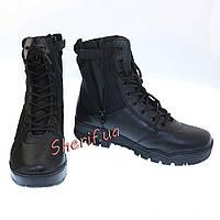 Берцы  тактические военные кожа/кордура на молнии MIL-TEC Black 12822000
