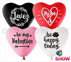 """Воздушные шары сердце """"Love - 2"""" 12""""(30 см) пастель (4 цвета) В упак: 100шт ТМ Арт «SHOW»"""
