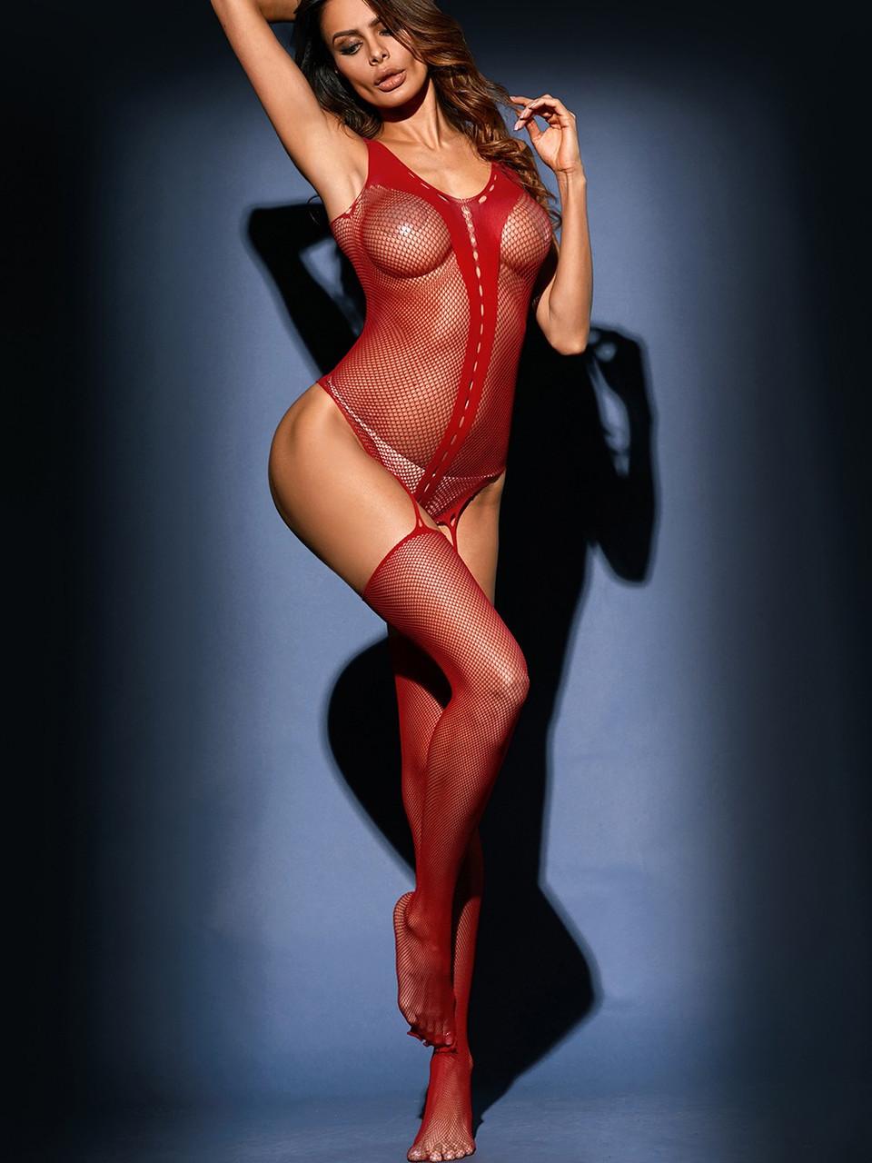 Женский боди-комбинезон красного цвета