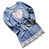 Платье туника с пайетками  для девочки (4-14р).