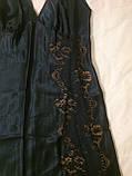 Сорочка ночная рубашка женская шелковая синяя длинная Coemi 151 659 , фото 3