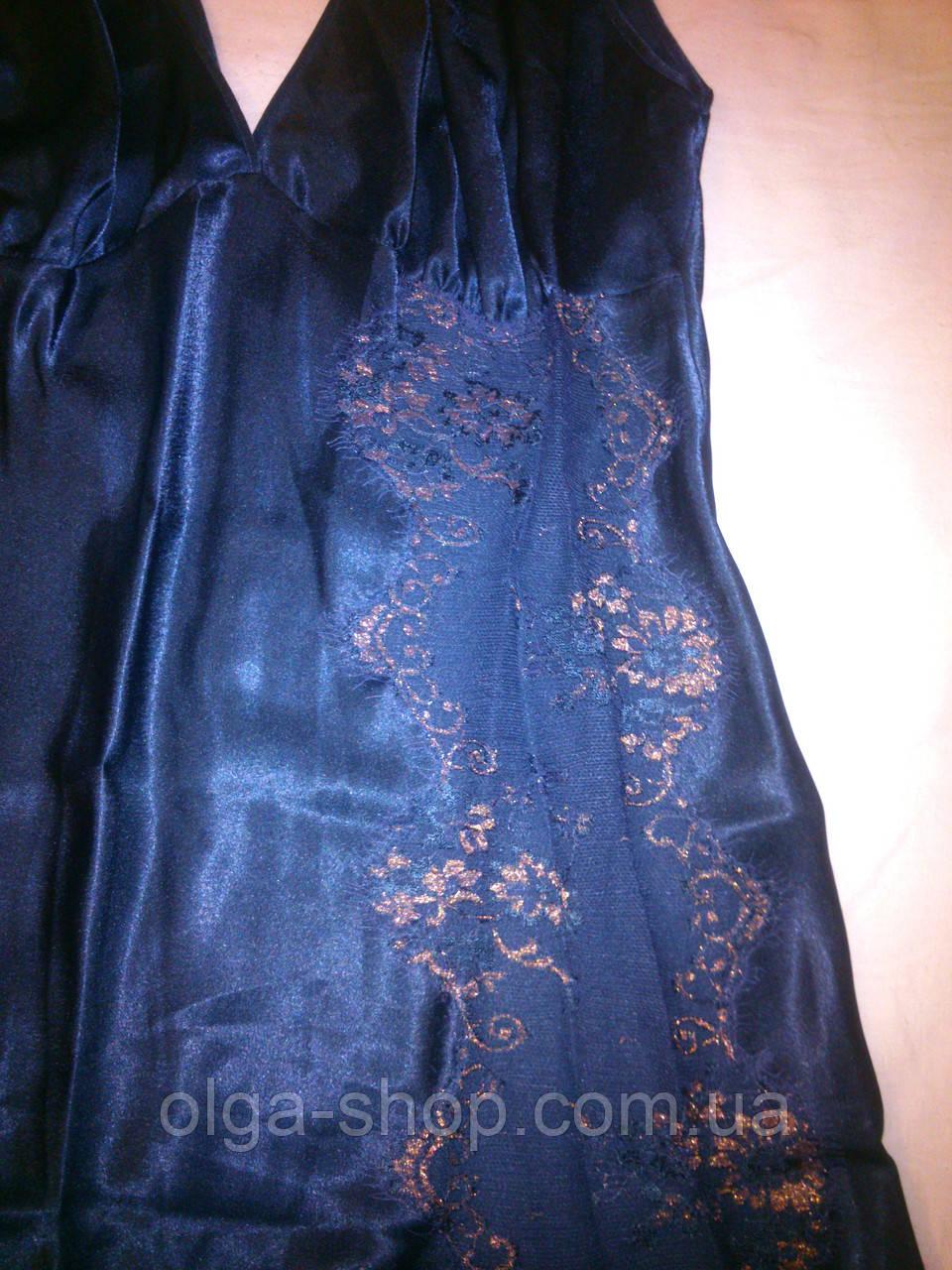 09780edcee8 ... Сорочка ночная рубашка женская шелковая синяя длинная Coemi 151 659