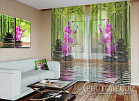 """ФотоТюль """"Бамбук и малиновые орхидеи на камнях"""" (2,5м*3,75м, на длину карниза 2,5м)"""