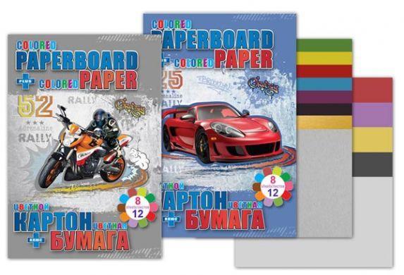 Набор цветной бумаги и картона 25х18 см Speed Car картон 6+2 цв (золото и серебро), цветная бумага 12 листов