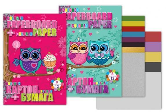 Набор цветной бумаги и картона 25х18 см Little Owl картон 6+2 цв (золото и серебро), цветная бумага 12 листов