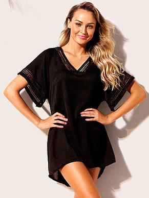 Пляжное черное платье - туника, фото 2