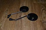 Зеркала универсальные для мопеда/скутера круглые ( резьба 8мм) черные глянцевые, фото 3