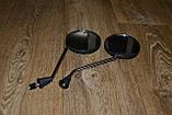 Зеркала универсальные для мопеда/скутера круглые ( резьба 8мм) черные глянцевые, фото 2