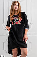 Платье женское спортивное асимметричное двунить размер 48-54 универсальный Турция , 2 цвета
