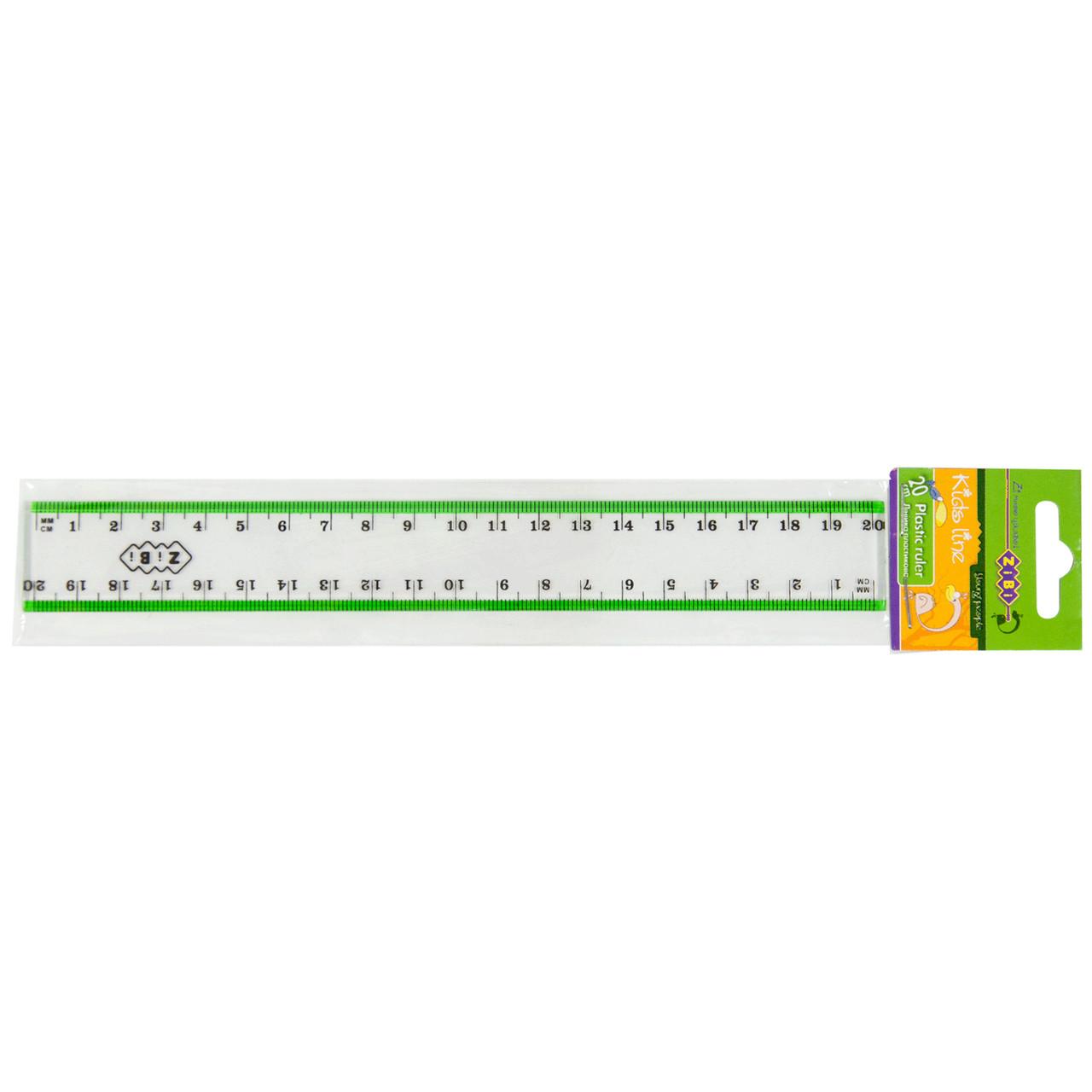 Линейка 20см ZiBi пластик салатовая прозрачная ZB.5610-15