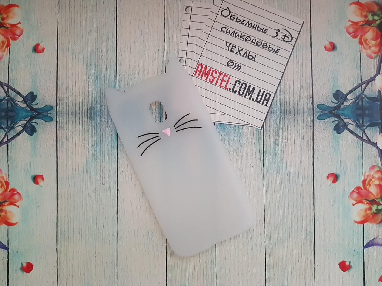 Объемный 3D силиконовый чехол для Samsung Galaxy J3 J330 2017 Белый усатый кот