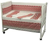 """Детский постельный набор в кроватку 120х60см 4 предмета красный Славяночка ТМ """"РУНО"""""""
