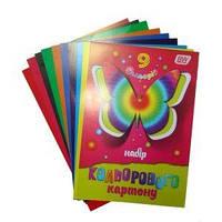Картон цветной А-4 13В01, 9 листов, 9 цветов, двухсторонний