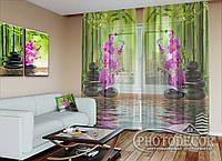 """ФотоТюль """"Бамбук и малиновые орхидеи на камнях"""" (2,5м*4,5м, на длину карниза 3,0м)"""