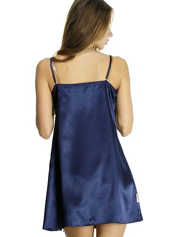 Шелковая ночная рубашка синего цвета, фото 2