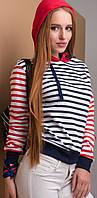 Женская полосатая толстовка с капюшоном