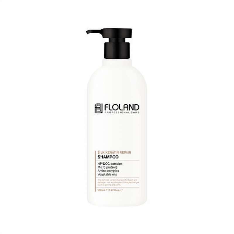 Восстанавливающий шампунь с кератином  Floland Premium Silk Keratin Shampoo
