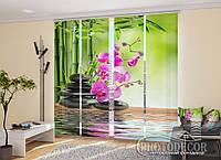 "Японські фотошторы ""Бамбук і малинові орхідеї на каменях"" 2,40*1,20 (2 панелі на 60см)"