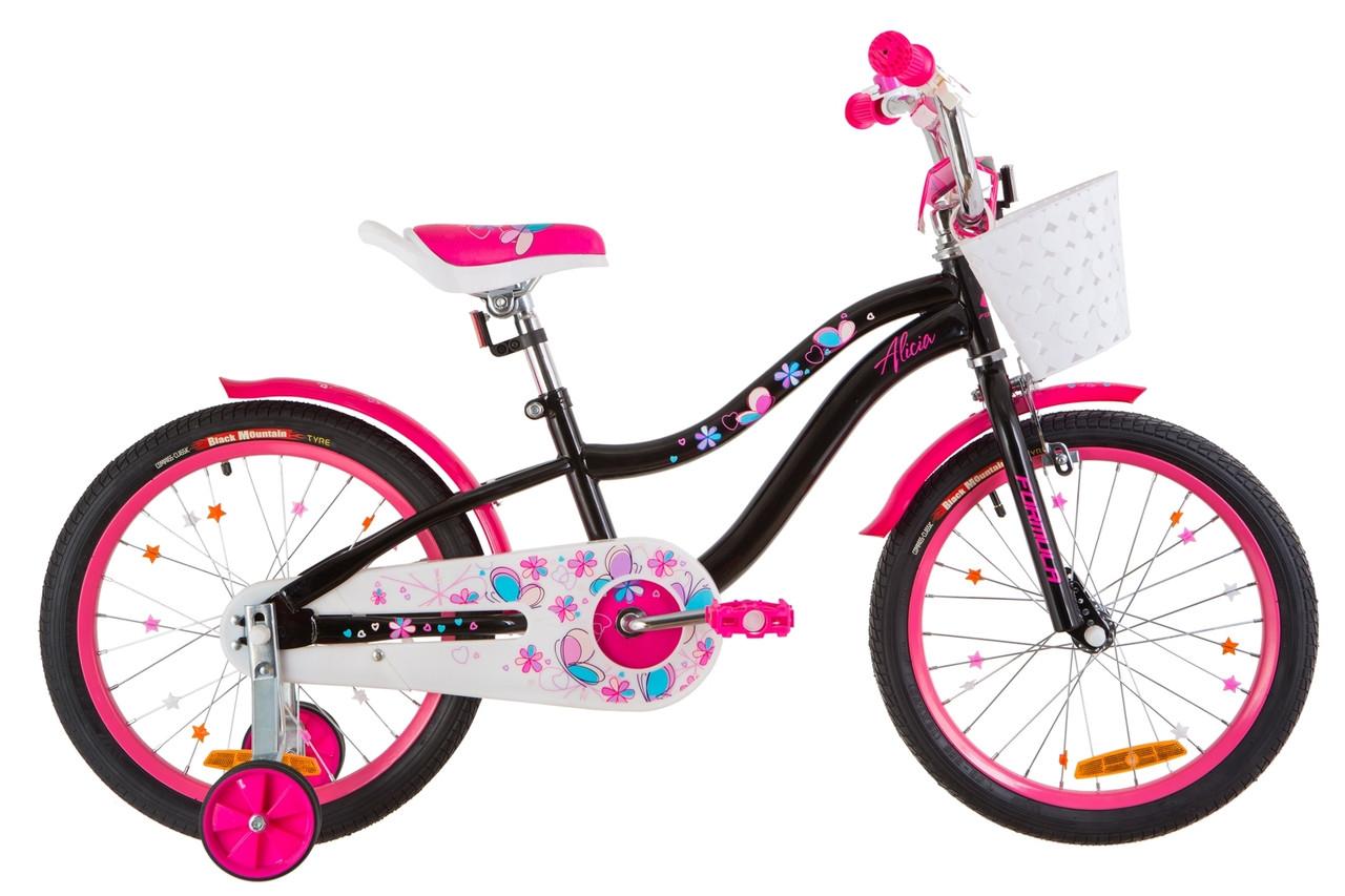 """Велосипед 18"""" Formula ALICIA 14G St с крылом St 2019 (черный с розовым)"""