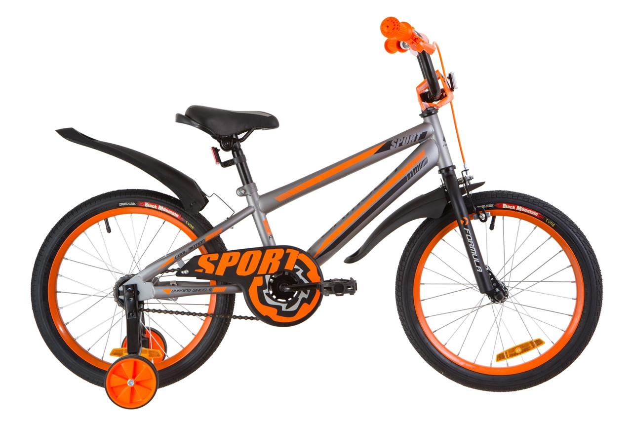 """Велосипед 18"""" Formula SPORT 14G St с крылом Pl 2019 (серо-черный с оранжевым (м))"""