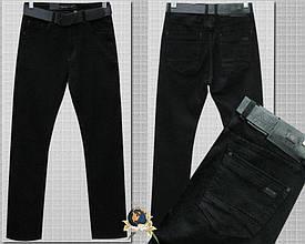 Джинсы мужские классические прямые на флисе чёрного цвета Resalsa