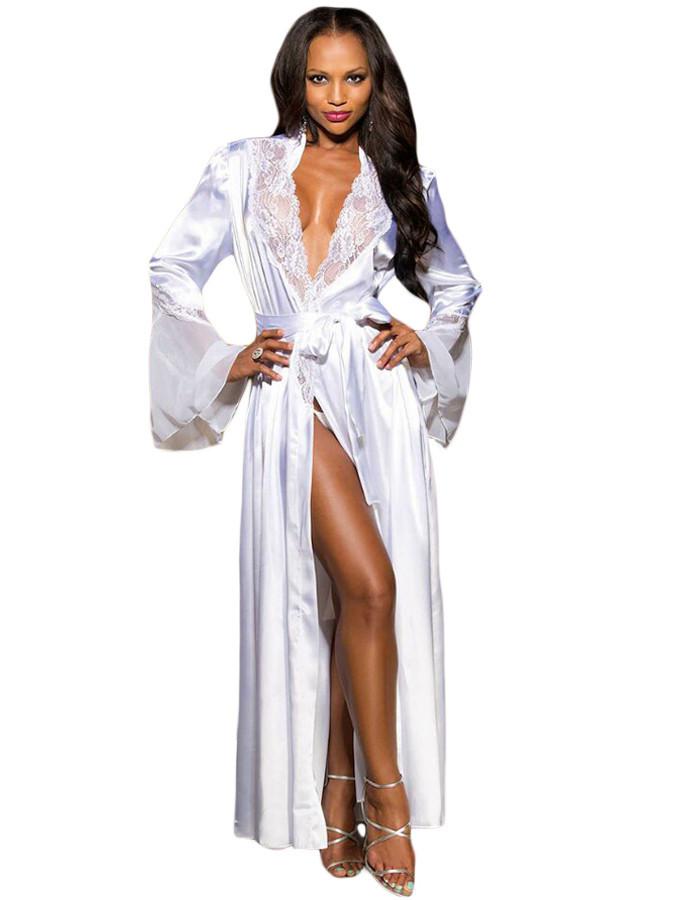 Белый длинный халат с рукавом