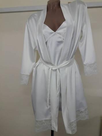 Белый халат с кружевом, фото 2
