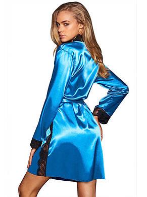 Голубой халат с черным кружевом, фото 2