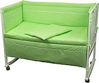"""Детский постельный набор в кроватку 120х60см 4 предмета салатовый Веселый горошек ТМ """"Руно"""""""
