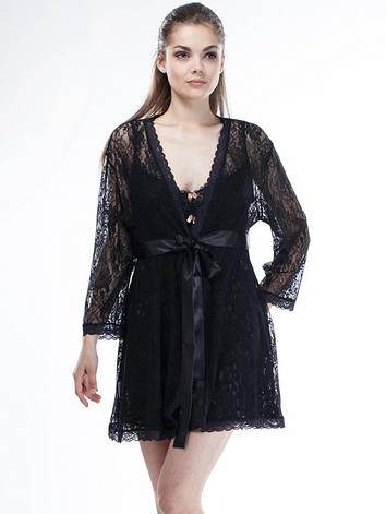 Женский кружевной халат черного цвета, фото 2
