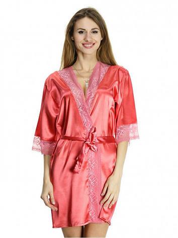Женский сатиновый халат для дома женский, фото 2
