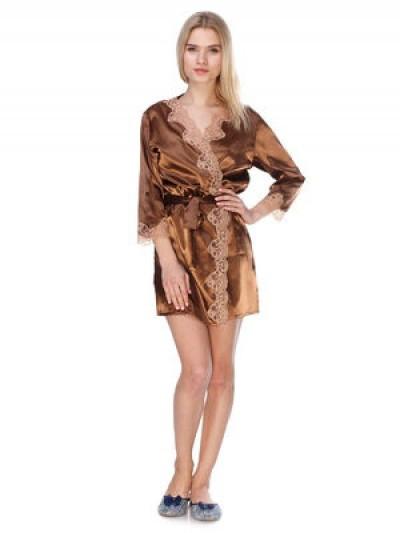 Женский сатиновый халат с гипюром
