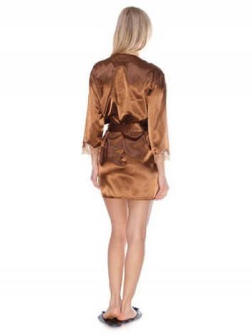 Женский сатиновый халат с гипюром, фото 2