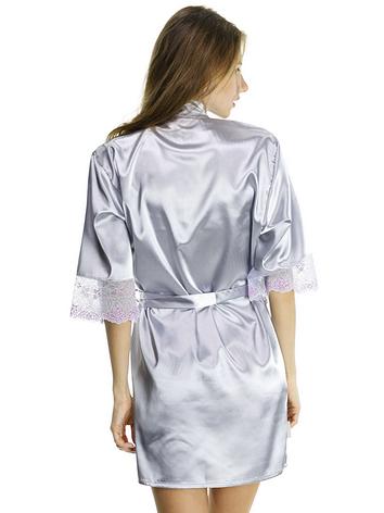 Женский халат из шелка с ажуром, фото 2