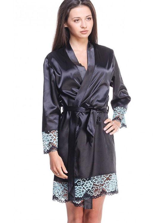 Женский шикарный халат в черном цвете с ажуром