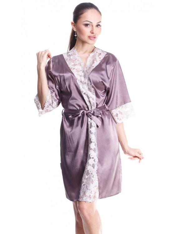Летний женский халат с красивым гипюром