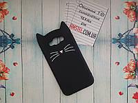 Объемный 3D силиконовый чехол для Samsung Galaxy J7 Neo J7 J700 Черный усатый кот