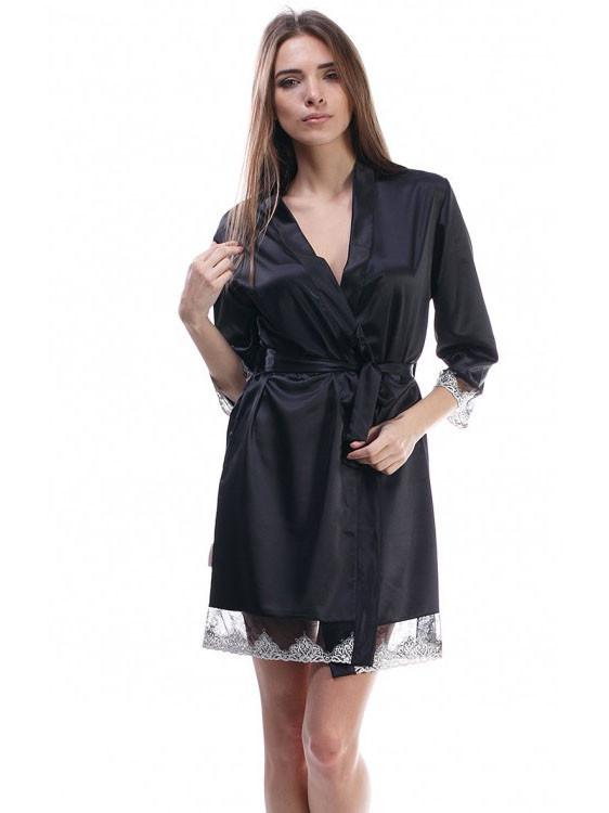 Черный женский халат с красивым ажуром
