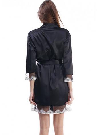 Черный женский халат с красивым ажуром, фото 2