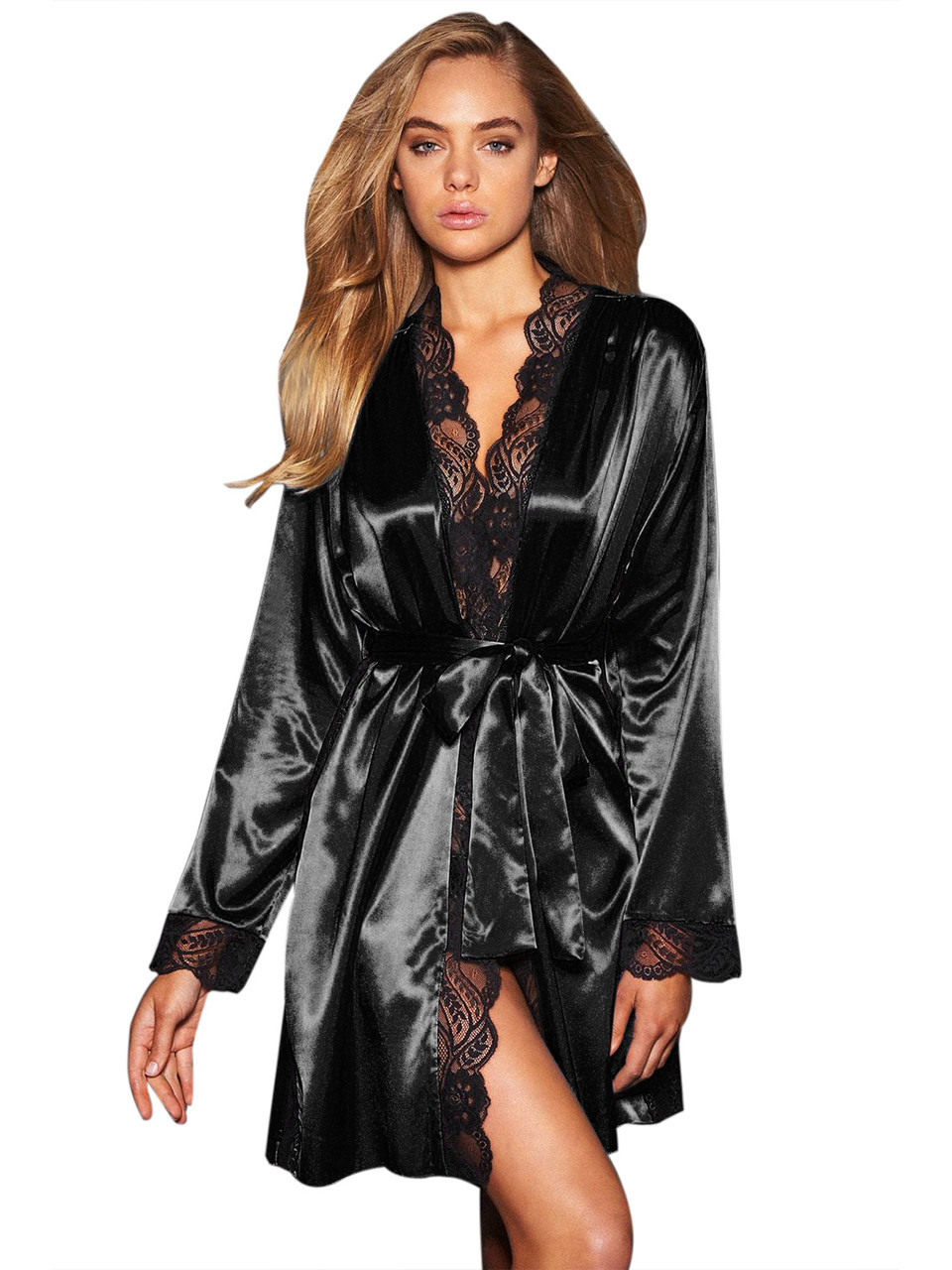 Черный сатиновый халат с кружевом