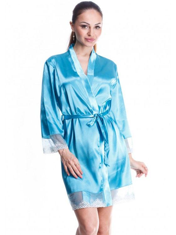 Яркий летний женский халат с гипюром