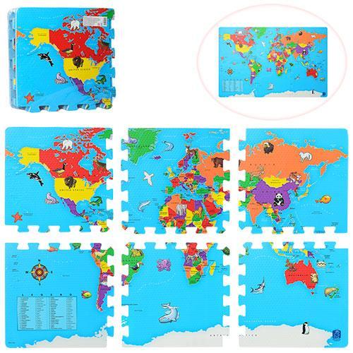 Коврик Мозаика M 2612 (10шт) EVA, карта мира, 6деталей(31,5-31,5-1см), в кульке, 31,5-31,5-6см