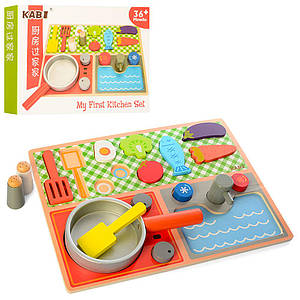 Деревянная игрушка Продукты MD 1223 (32шт) плита, сковорода, в кор-ке, 31-23-4см