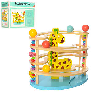 Деревянная игрушка Игра MD 1530 (12шт) шарики 3шт, лабиринт, в кор-ке, 30,5-28-18,5см